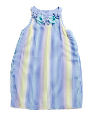 Little Girls Chiffon Pleated Multicolored Dress