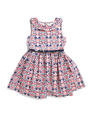 Little & Big Girls  Floral Printed Ruffle Neck Dress