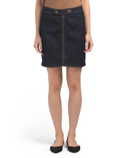 Juniors Zipper Front Denim Skirt