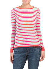 Boat Neck Color Block Pullover Sweater