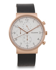 Men's Ancher Chrono Leather Strap Watch