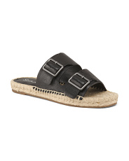 Double Buckle Espadrille Slide Leather Sandals