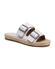 Leather Espadrille Slide Sandals