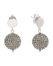 Made In Italy Sterling Silver Grey Crystal Ball Earrings