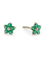 Girls Made In Usa 14k Gold  Cz Flower Stud Earrings