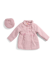 Little Girls Wool Coat With Matching Beret