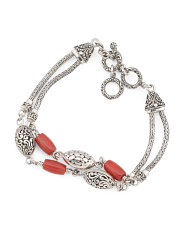 Made In Indonesia Sterling Silver 2 Row Coral Bracelet