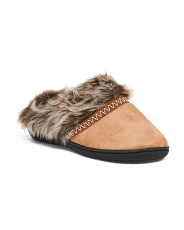 Microsuede Slippers With Faux Fur