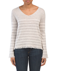 Cashmere Striped Fringed V Neck Sweater