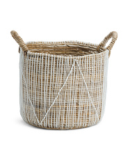 Made In Indonesia Natural Seagrass Crochet Detail Storage Basket