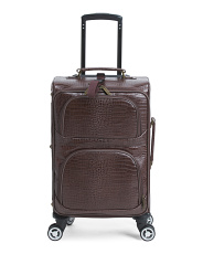 24in Leather Croc Print Carry On With Removable Wheels