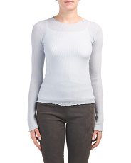 Ribbed Crew Neck Cashmere Sweater