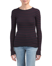 Cashmere Striped Ribbed Crew Neck Sweater