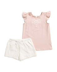 Toddler Girls 2pc Top & Lace Shorts Set