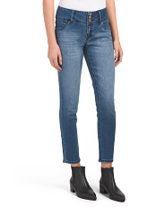 Petite High Waist Triple Button Skinny Jeans