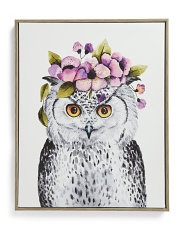 16x20 Flower Crown Owl Canvas Wall Art