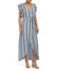 Chambray Striped Maxi Dress