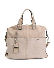 London Large Satchel With Suede Detail