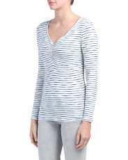Long Sleeve Striped Ribbed Top
