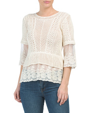 Knit Sweater With Lace Underlay