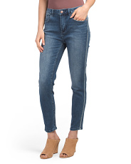 High Rise Skinny Jeans With Stripes