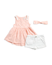 Toddler Girls 2pc Eyelet Tunic Short Set With Headband