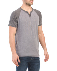 Short Sleeve Color Block Notch Neck Tee