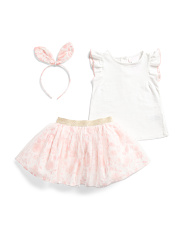 Infant Girls 2pc Floral Skirt Set With Bunny Ears