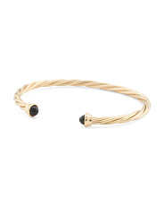Made In Italy 14k Gold And Onyx Contraire Open Cuff Bracelet