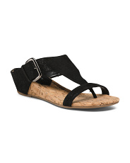 Cork Wedge Suede Sandals