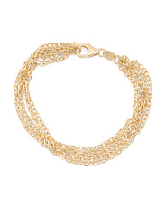 Made In Italy 14k Gold 5 Row Rolo Bracelet