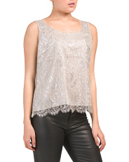 Metallic Flower Chantilly Lace Top