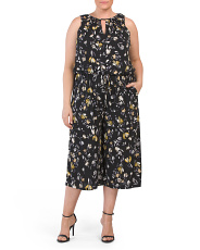 Plus Swirling Petals Gaucho Jumpsuit