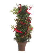 Potted Evergreen & Berry Faux Plant