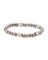 Made In Usa Sterling Silver Smoky Quartz And Pearl Bracelet