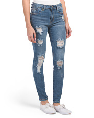 Juniors High Waist Destructed Skinny Jeans