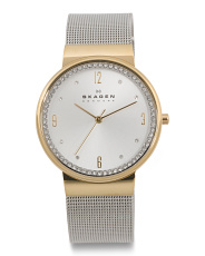 Women's Ancher Crystal Bezel Two Tone Mesh Strap Watch