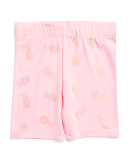 Little Girls Foil Pineapple Bermuda Bike Shorts