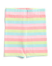 Little Girls Striped Bermuda Bike Shorts