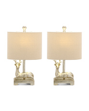 Set Of 2 Reindeer Accent Lamps