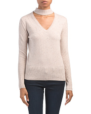 Cashmere Donegal Tweed Crop Sweater