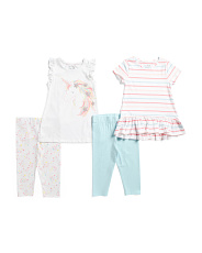 Little Girls 4pc Mix And Match Unicorn Capri Legging Set