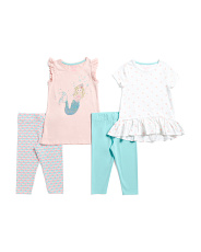Little Girls 4pc Mix And Match Mermaid Capri Set
