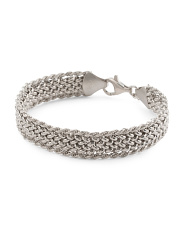 Made In Italy Sterling Silver Textured Wide Bracelet