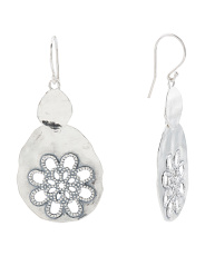 Made In Israel Sterling Silver Double Drop Flower Earrings