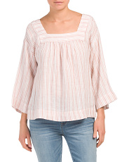 Linen Yarn Dyed Striped Top