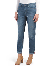 High Rise Girlfriend Jeans With Studs