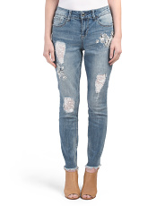Frayed Skinny Jeans With Lace Patches