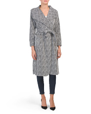 Juniors Plaid Wrap Coat