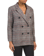 Juniors Double Breasted Plaid Blazer